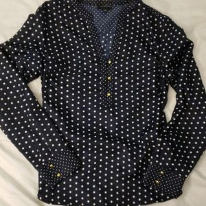 The Limited navy blue polka dot blouse